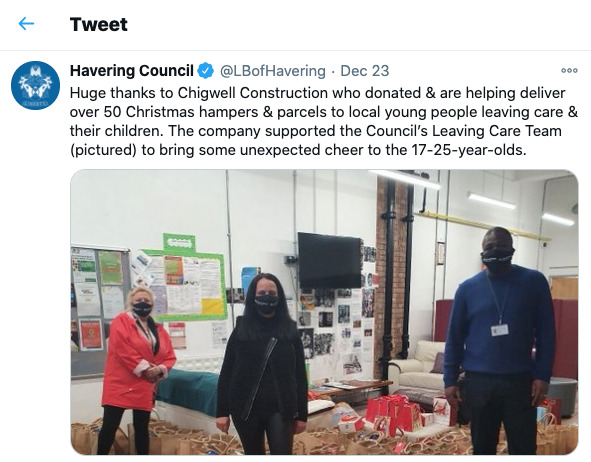 Havering Council Tweet